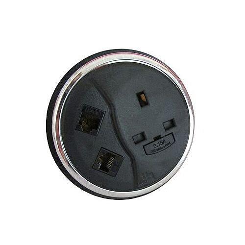 CMD Desk Black Desktop Porthole 1 x Power 2 x Data BDP-1P2D