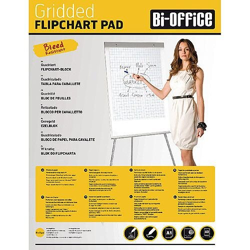 Bi-Office A1 Flipchart Pad Gridded Pack of 5 FL012301