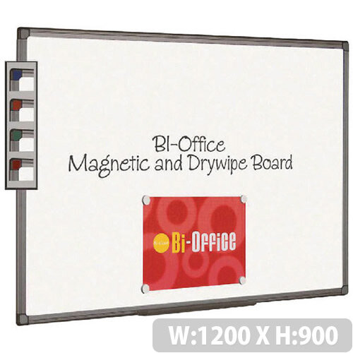 Bi-Office Magnetic Whiteboard 1200x900mm Aluminium Finish MB1406186