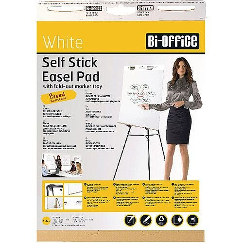 Bi-Office Self-Stick Flipchart Pad 635x780mm 30 Sheets White Pack of 2 FL128107