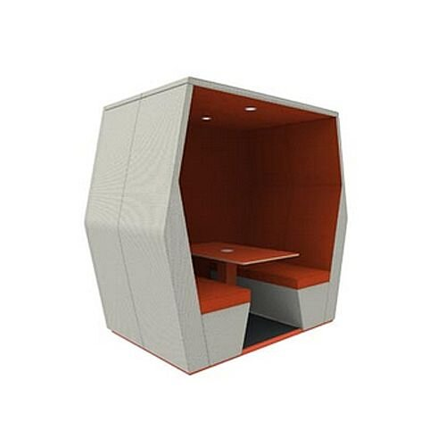 Meeting Pod BILL 4 Seater Orange & Grey With End Wall