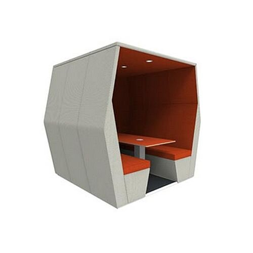 Meeting Pod BILL 6 Seater Orange &Grey With End Wall