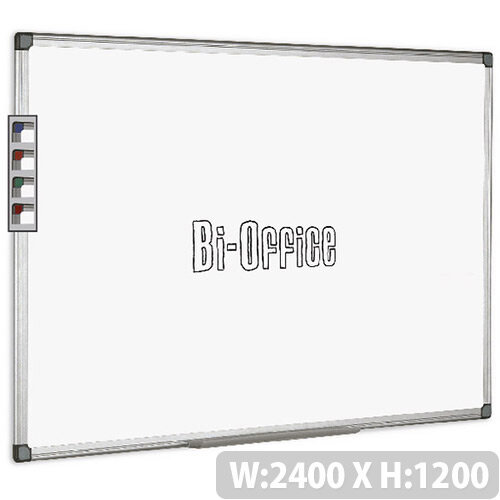 Bi-Office Non Magnetic Dry Erase Board Aluminium Frame White