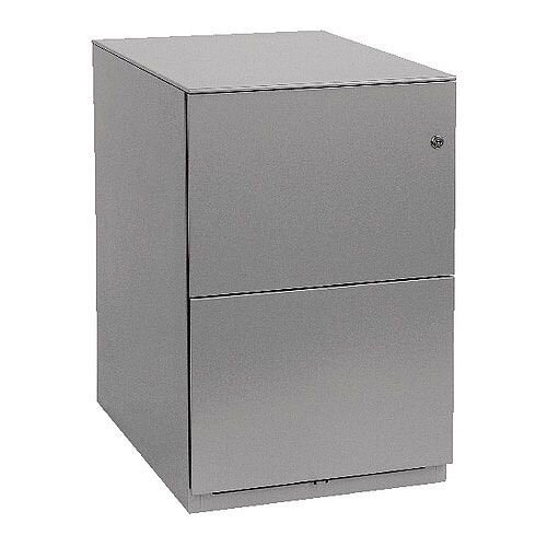 Bisley Note Pedestal Mobile 2 Filing Drawers Grey