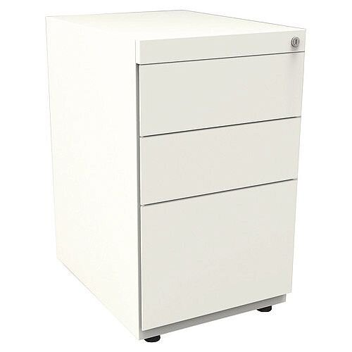 Bisley Note Pedestal Free Standing 2 Stationery 1 Filing Drawers White
