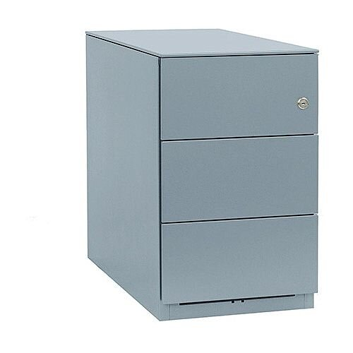 Bisley Note Pedestal Mobile 3 Stationery Drawers Grey