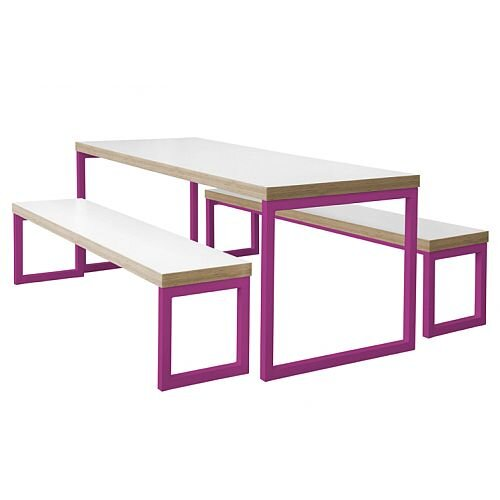 Block Steel Colour Canteen Table and Benches