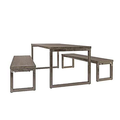 Block Steel Rustic Canteen Table and Benches