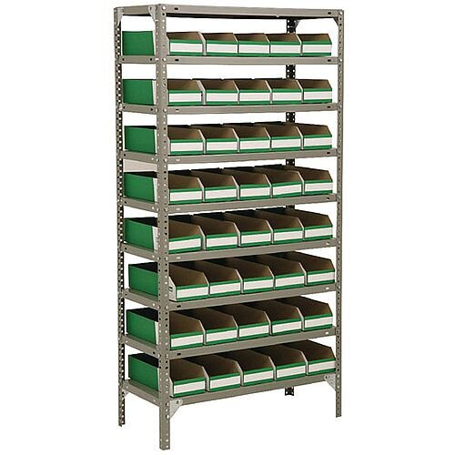 Bolt Kit 1800x900x400mm 9-Shelves 40 Bins Grey 383652