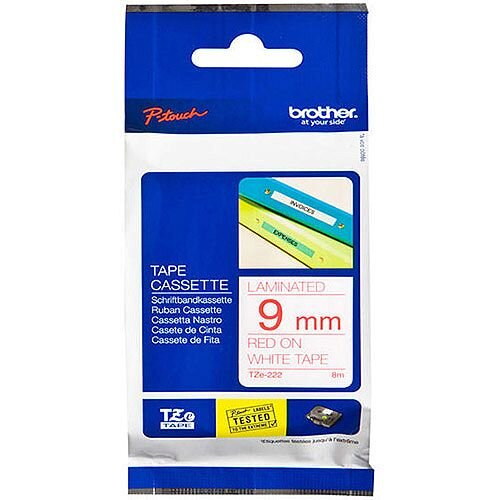 Brother P-Touch Tape 9mm Red/White TZE222