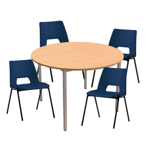 4 x Stacking Blue Chairs &1 Round Beech Table Canteen Bundle