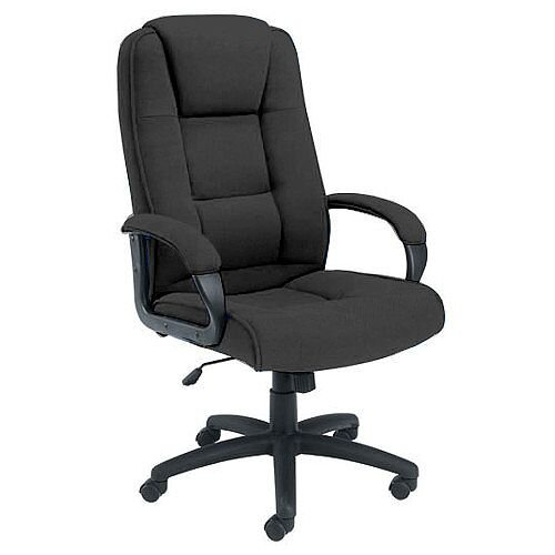 Keno High Back Fabric Upholstered Executive Office Armchair With Padded Armrests Charcoal