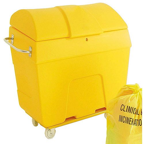 Clinical Waste Wheelie Bin 4 Wheels Truck 400 Litre With Graphic Yellow 313747