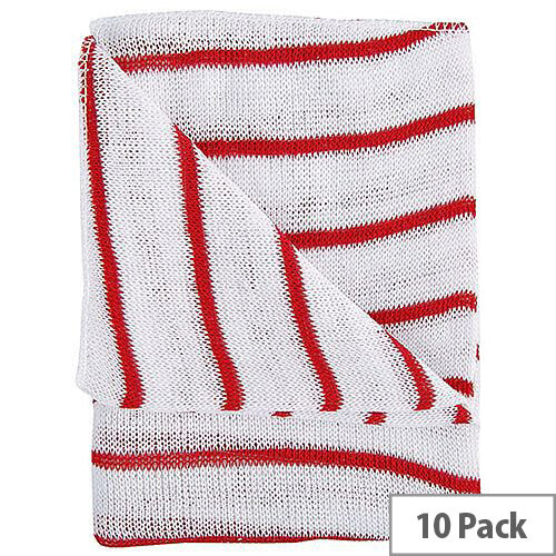 Hygiene Cloth 16x12 Red/White Pack of 10 HDRE1610P