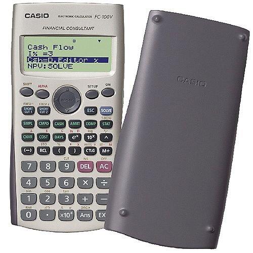 Casio Financial Calculator FC-100V-UM - 4 Line, 12 Digit Display - Battery Powered - Silver