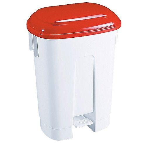 Derby Plastic Pedal Waste Bin 60 Litre White/Red 348012