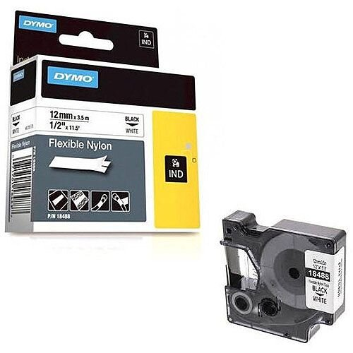 Dymo Rhino Flexible Nylon Label 12mm Black/White 18488