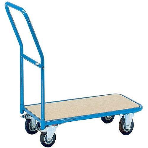 VFM Economy Store Room Platform Trolley 200kg Capacity Blue/Brown 357363