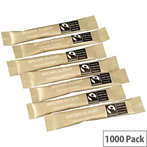 Fairtrade Brown Sugar Sticks Sachets Pack of 1000