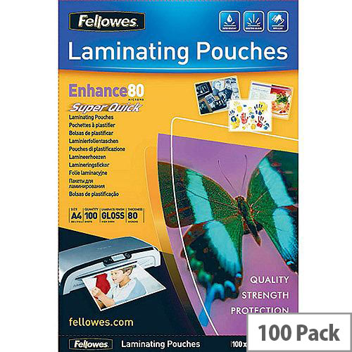 Fellowes A4 Super Quick Laminating Pouch Pack of 100 5440001