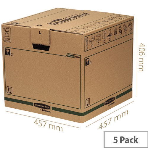 Fellowes Bankers Moving Packing Cardboard Boxes Large Brown/Green 457x457x406mm(Pack of 5)