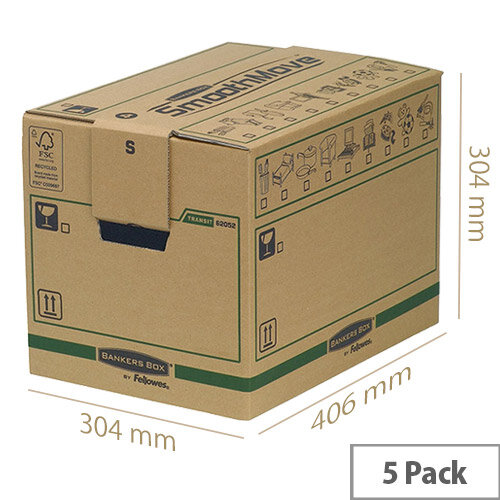 Fellowes Bankers Moving Packing Cardboard Boxes Small Brown/Green 304x406x304mm (Pack of 5) Ref 6205201