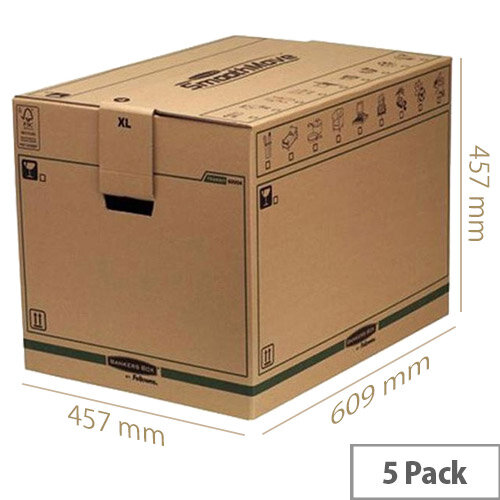 Fellowes Bankers Packing Cardboard Boxes XL Ship and Secure 457x609x457mm (5 Pack)