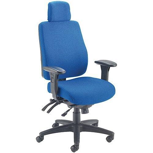 Avior Elbrus High Back 24 Hour Heavy Duty Task Operator Office Chair Blue