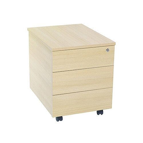 Jemini Intro 3-Drawer Mobile Pedestal Warm Maple