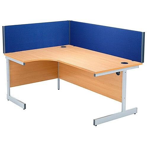 FF Jemini Straight Desk Screen 1600mm Blue