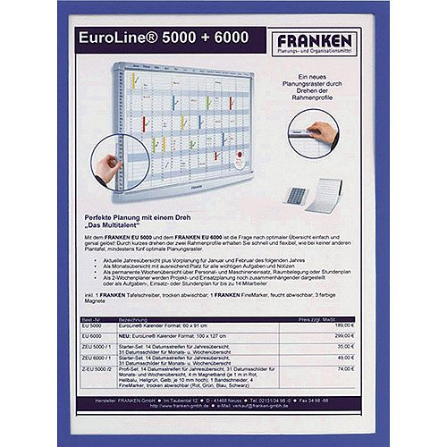 Franken Document Holder Magnetic Din A4 5-pieces Blue ITSA4M/5  03