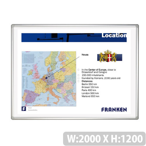Franken Projection Whiteboard Magnetic 2000 x 1200mm White Matt Pro