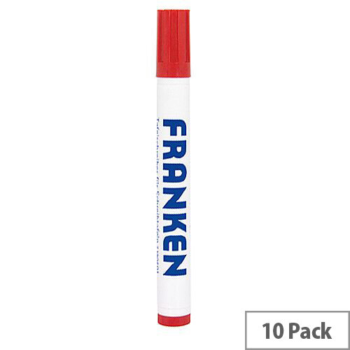 Franken Refillable Board Markers Red Pack of 10 Z1902 01