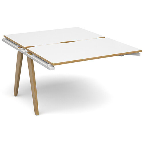 Fuze 2 Person Add On for Back to Back Bench Office Desks White with Oak Edge W1200 x D 2x800mm
