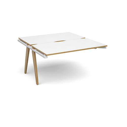 Fuze 2 Person Add On for Back to Back Bench Office Desks White with Oak Edge W1400 x D 2x800mm