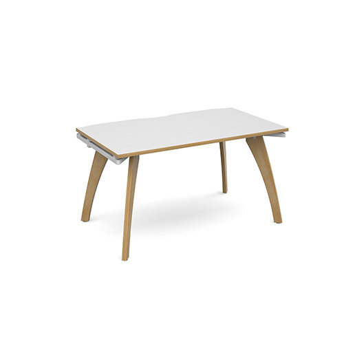 Fuze Single Bench Office Desk White with Oak Edge W1400mmxD800mm