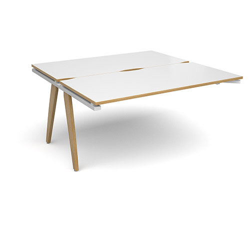 Fuze 2 Person Add On for Back to Back Bench Office Desks White with Oak Edge W1600 x D 2x800mm