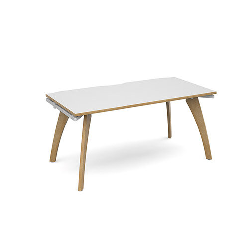 Fuze Single Bench Office Desk White with Oak Edge W1600mmxD800mm