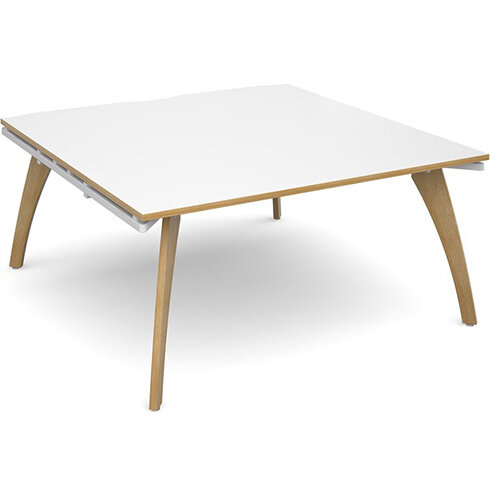Fuze Square Boardroom Table White with Oak Edge W1600mmxD1600mm