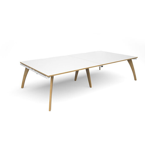 Fuze Rectangular Boardroom Table White with Oak Edge W3200mmxD1600mm