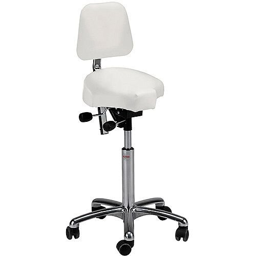 Gamma Easymek Seat Saddle Stool With Backrest White Leather Look Seat Upholstery H570 - 760mm