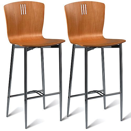 Pelon Maple Bar Stool in Naturally Polished Maple Veneer