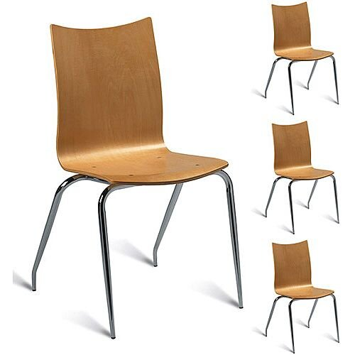 Roma Maple Café Side Chair - Maple Veneer Naturally Polished Pack of 4