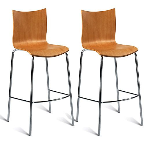 Roma Maple Veneer Naturally Polished Bar Stool Pack of 2