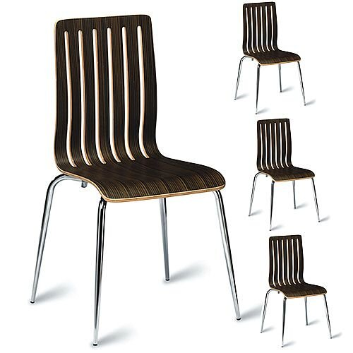 Lucca Zebrano Veneer Polished Wenge Café Side Chair Pack of 4