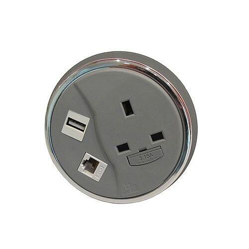 CMD Desk Grey Desktop Porthole 1 x Power 1 x Data 1 x USB GDP-1P1D1U