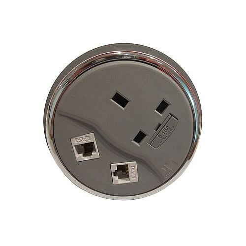 CMD Desk Grey Desktop Porthole 1 x Power 2 x Data GDP-1P2D