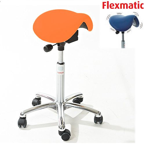 Mini Flexmatic Optimum Adjustment Seat Saddle Stool With Orange Leather Look Seat Upholstery H570 -760mm