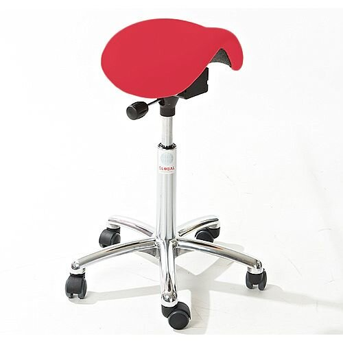 Mini Easymek Seat Saddle Stool With Easy Clean Red 3D Runner Seat Upholstery H570 - 760mm