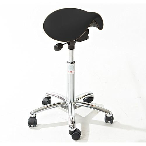 Mini Easymek Seat Saddle Stool With Black Leather Look Seat Upholstery H570 - 760mm